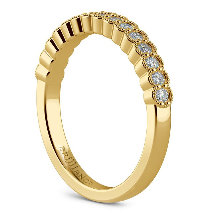 False Bezel Milgrain Diamond Band in Yellow Gold | 04
