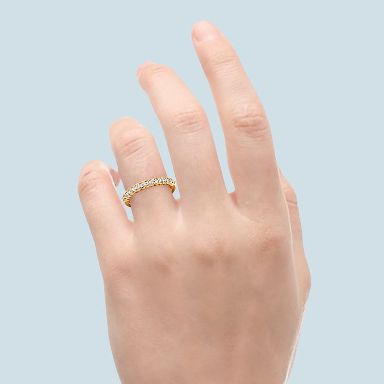 False Bezel Milgrain Diamond Band in Yellow Gold | 06