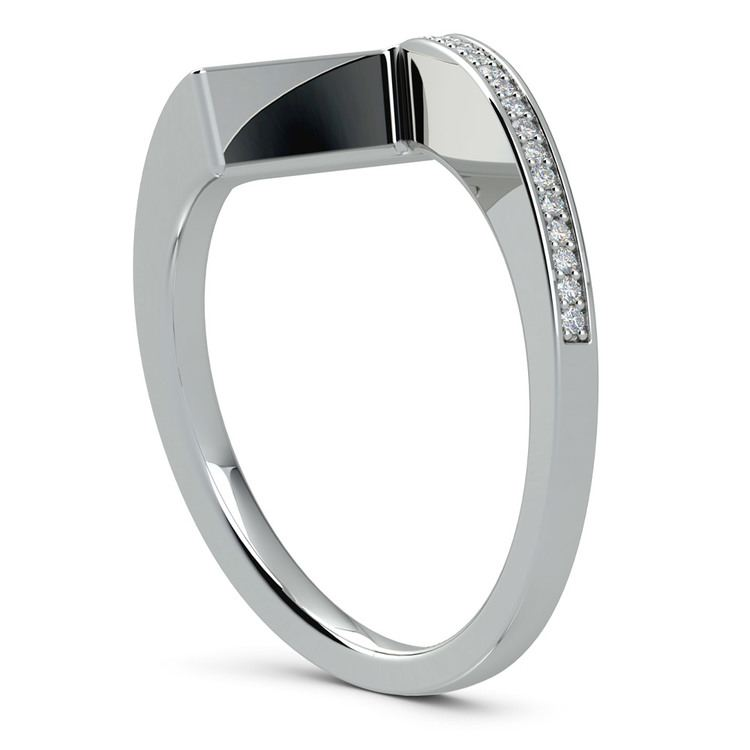 False Tension Wedding Band In Platinum - Matching Design   04