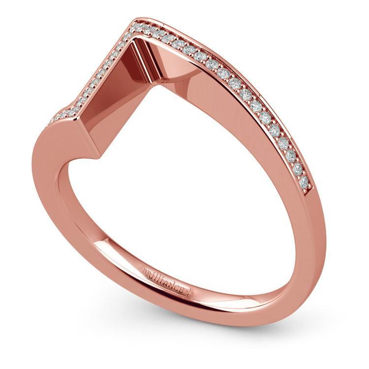False Tension Wedding Band In Rose Gold - Matching Design   01