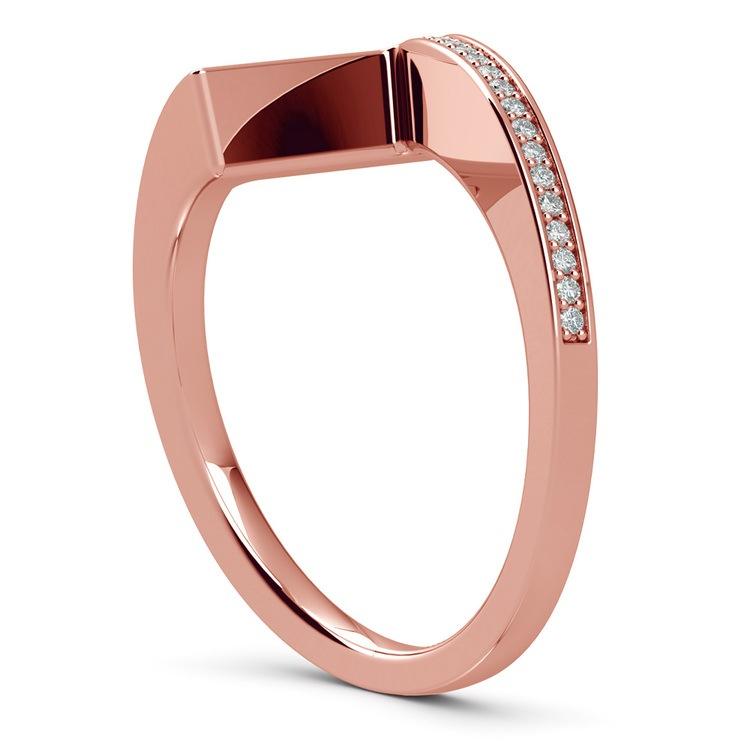 False Tension Wedding Band In Rose Gold - Matching Design   04