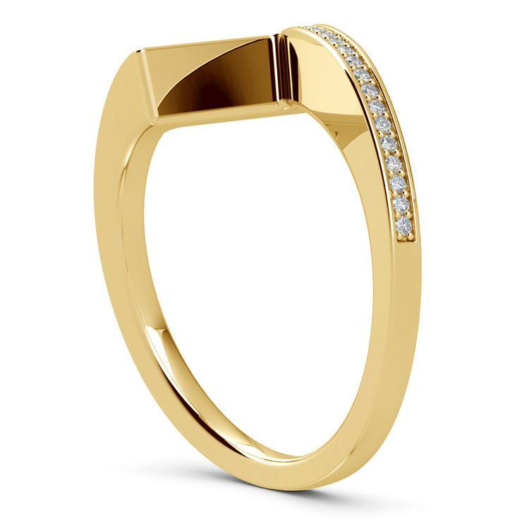 False Tension Wedding Band In Yellow Gold - Matching Design   04