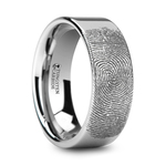 Gumshoe - 6mm Flat Tungsten Mens Band with Fingerprint Engraving | Thumbnail 02