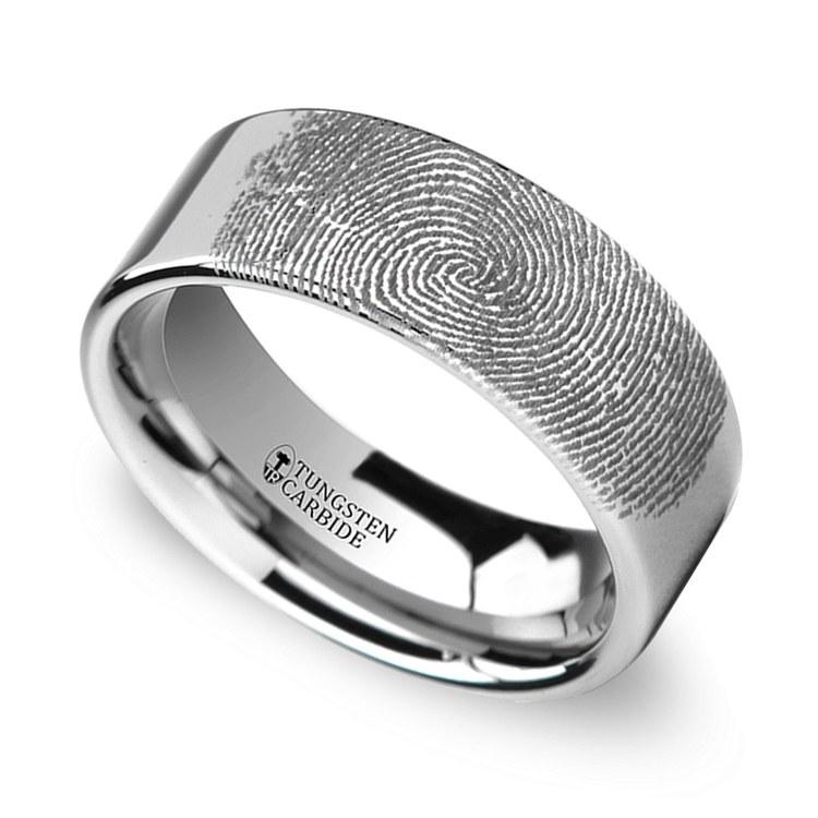 Gumshoe - 6mm Flat Tungsten Mens Band with Fingerprint Engraving | 01