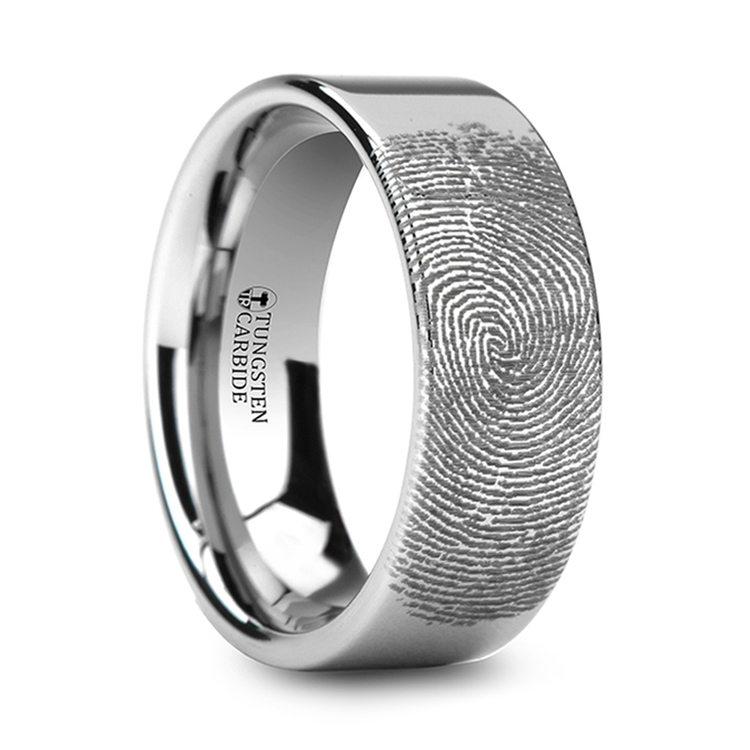 Gumshoe - 6mm Flat Tungsten Mens Band with Fingerprint Engraving | 02