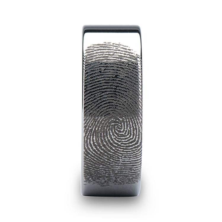 Gumshoe - 6mm Flat Tungsten Mens Band with Fingerprint Engraving | 03