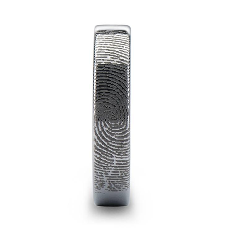 Fingerprint Flat Wedding Ring in Tungsten (4mm) | 03