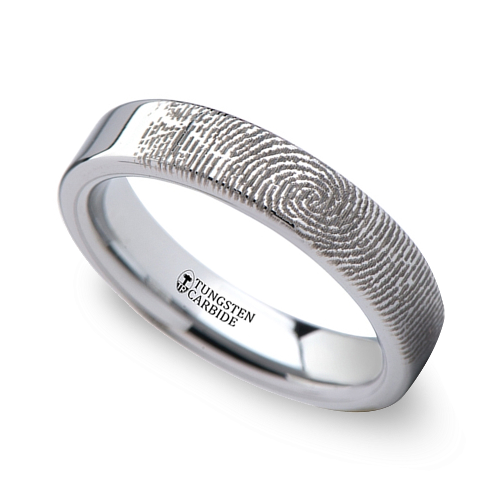 fingerprint engraved flat wedding band tungsten 4mm fingerprint wedding band