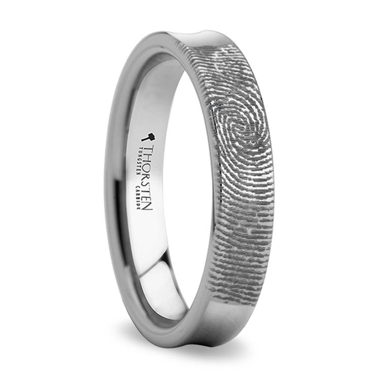 Fingerprint Engraved Men's Wedding Ring in Tungsten (4mm) | 02