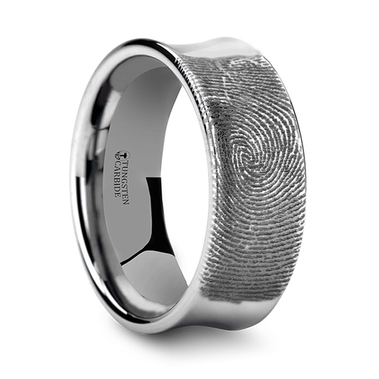 Fingerprint Engraved Men's Wedding Ring in Tungsten (8mm)   02