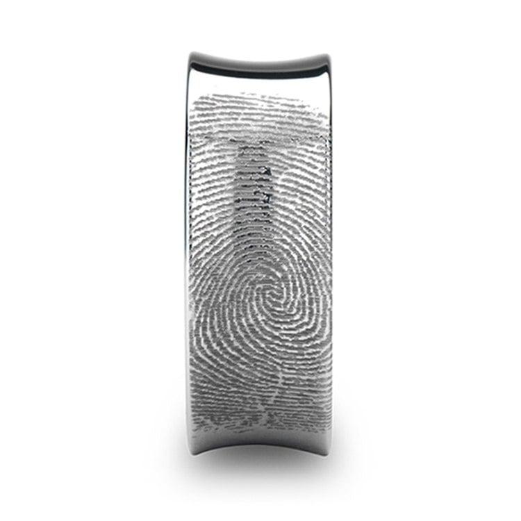Fingerprint Engraved Men's Wedding Ring in Tungsten (8mm)   03