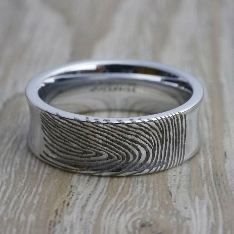 Fingerprint Engraved Men's Wedding Ring in Tungsten (8mm)   06