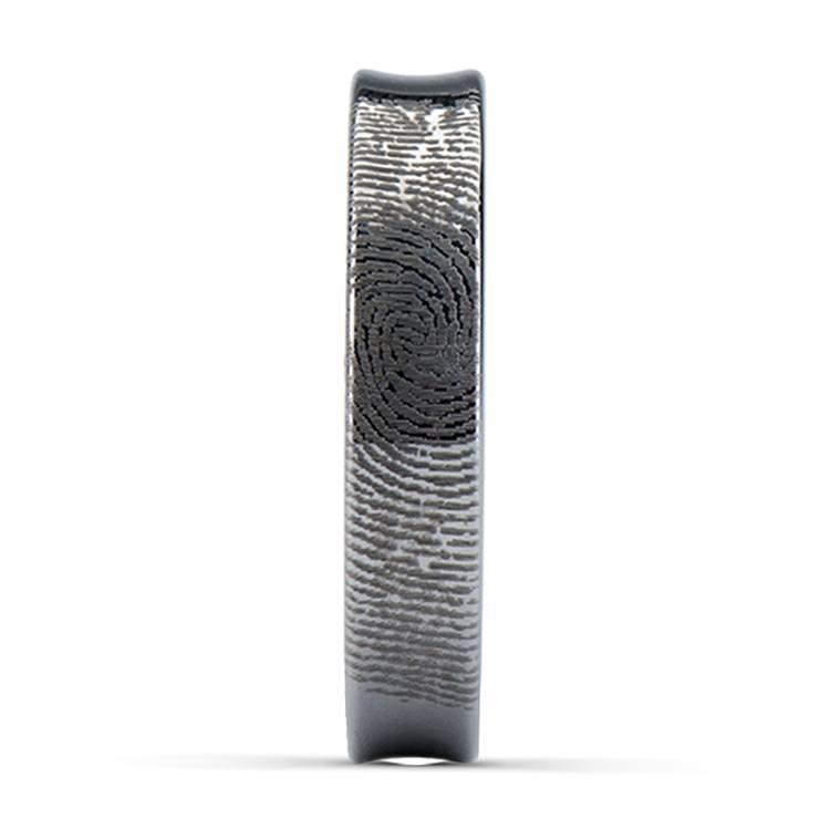 Fingerprint Engraved Wedding Ring in Tungsten (4mm) | 03