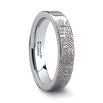 Fingerprint Flat Wedding Ring in Tungsten (4mm) | Thumbnail 02