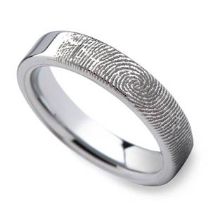 Fingerprint Flat Wedding Ring in Tungsten (4mm)