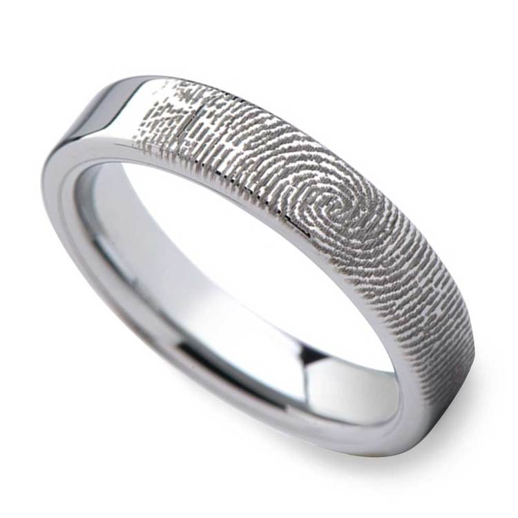Fingerprint Flat Wedding Ring in Tungsten (4mm) | 01