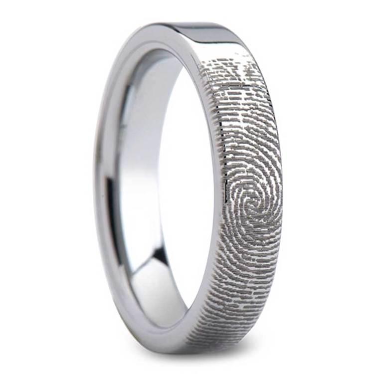 Fingerprint Flat Wedding Ring in Tungsten (4mm) | 02