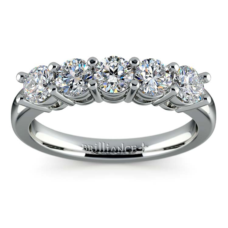 Five Diamond Wedding Ring in Platinum (1 ctw) | 02