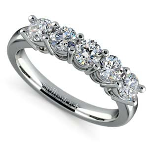 Five Diamond Wedding Ring in White Gold (1 ctw)