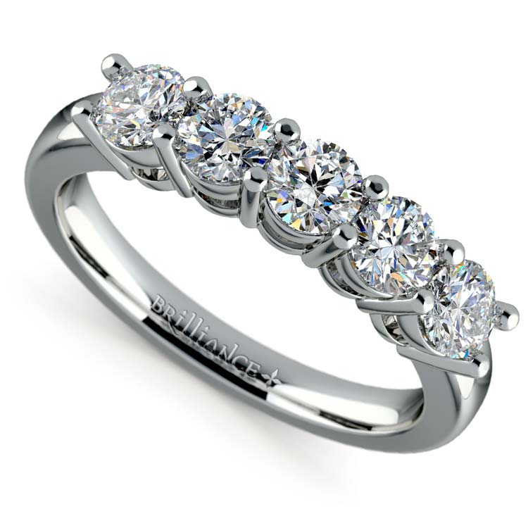 Five Diamond Wedding Ring in White Gold (1 ctw) | 01