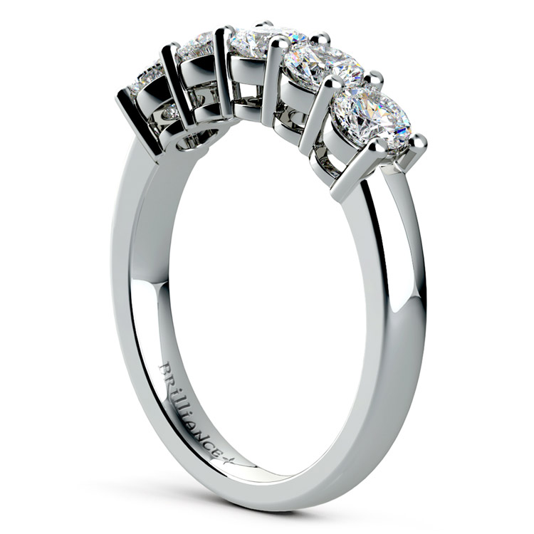 Five Diamond Wedding Ring in White Gold (1 ctw) | 04
