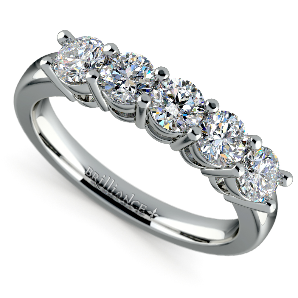 Five Diamond Wedding Ring In White Gold 1 Ctw