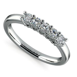 Five Diamond Wedding Ring in White Gold