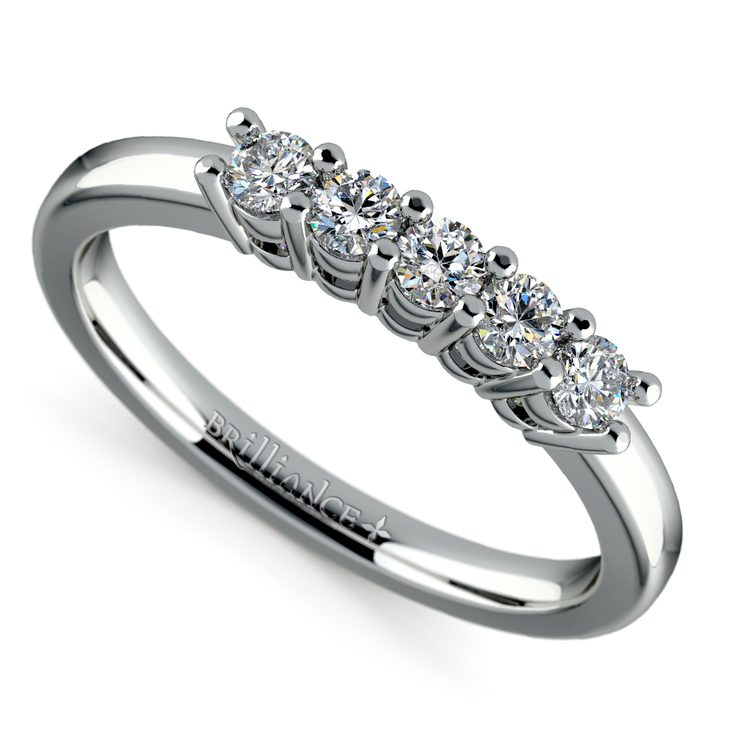 Five Diamond Wedding Ring in White Gold | 01