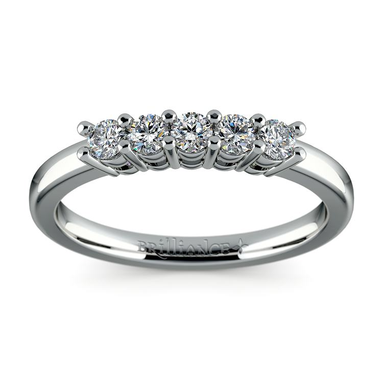 Five Diamond Wedding Ring in White Gold | 02