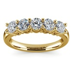 Five Diamond Wedding Ring in Yellow Gold (1 ctw) | Thumbnail 02