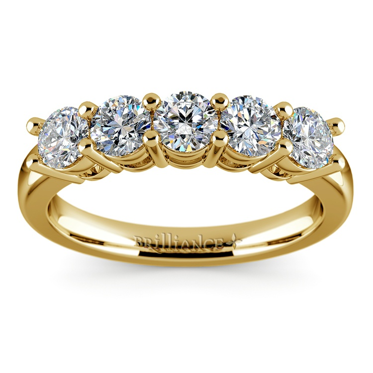 Five Diamond Wedding Ring in Yellow Gold (1 ctw) | 02