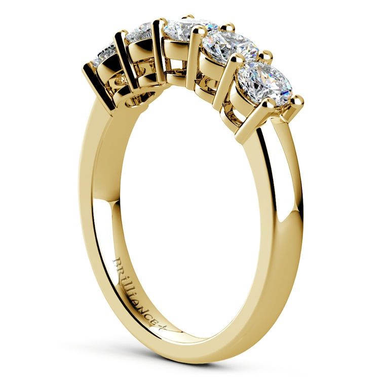 Five Diamond Wedding Ring in Yellow Gold (1 ctw) | 04