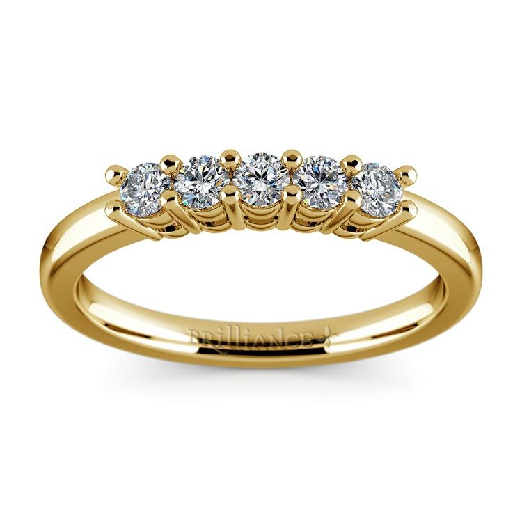 Five Diamond Wedding Ring in Yellow Gold  | 02