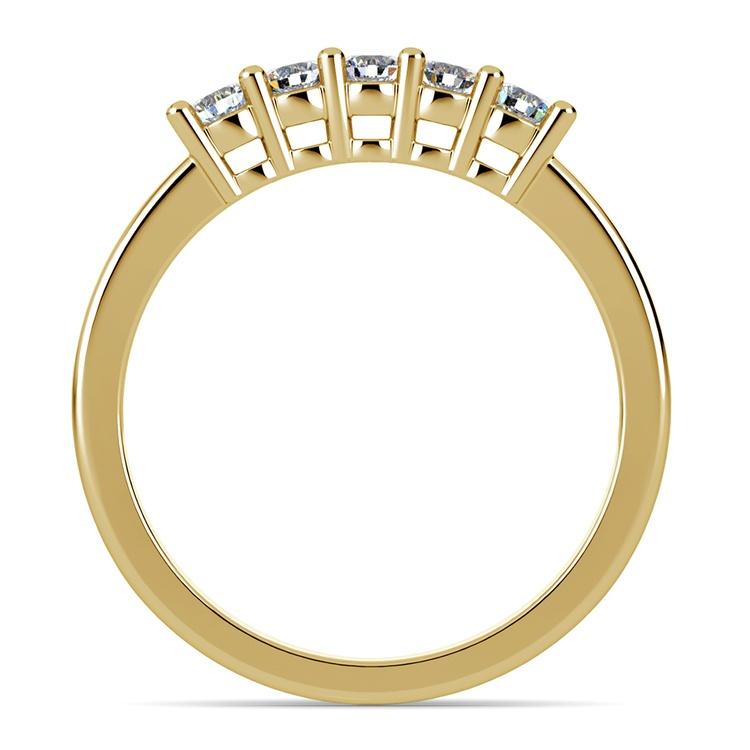 Five Diamond Wedding Ring in Yellow Gold  | 03