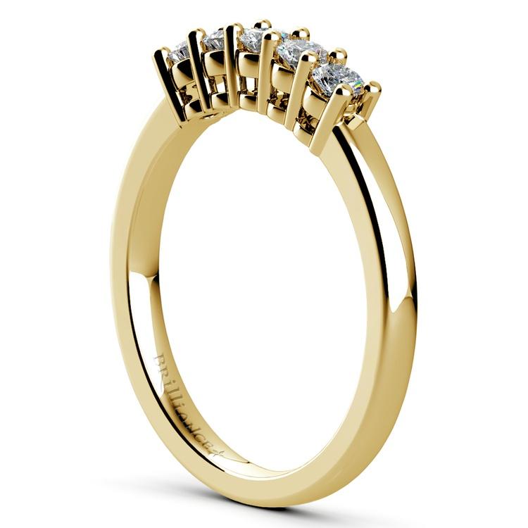 Five Diamond Wedding Ring in Yellow Gold  | 04