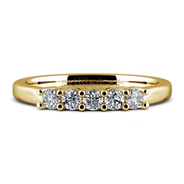 Five Diamond Wedding Ring in Yellow Gold  | 05