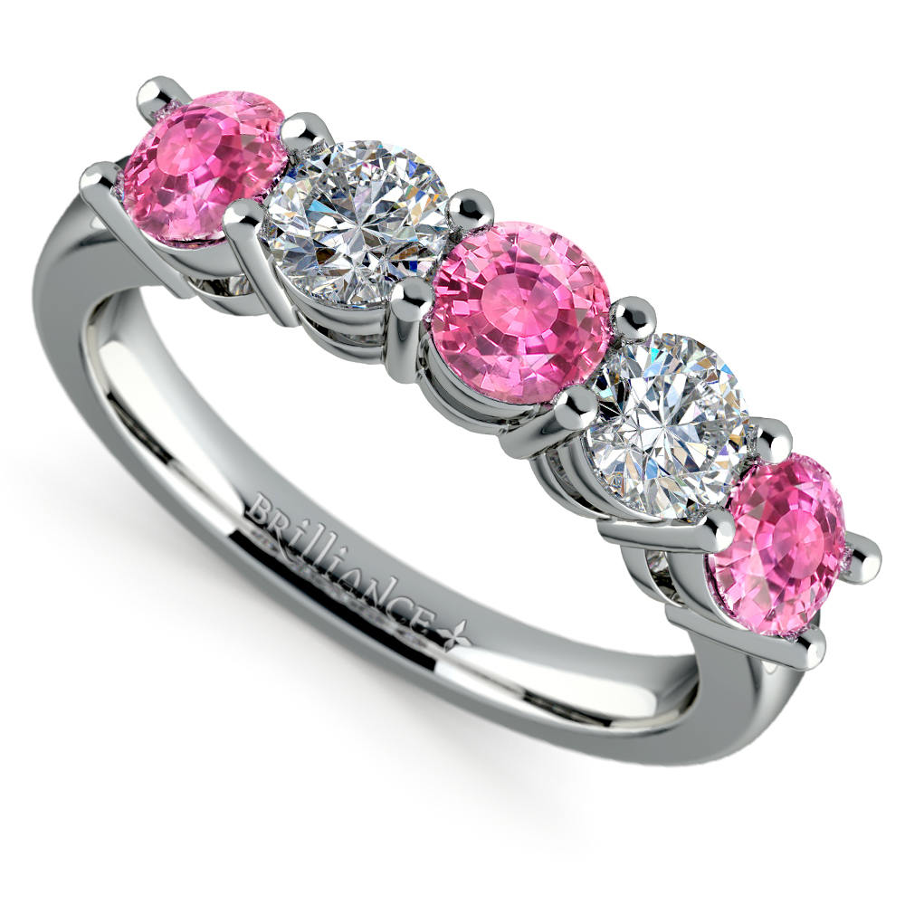 Pink Gold Diamond Bands: Five Pink Sapphire And Diamond Wedding Ring In Platinum (1