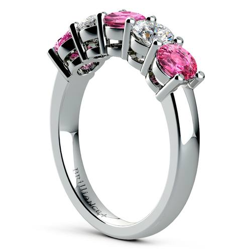 five pink sapphire diamond wedding ring in white gold 1 12 ctw - Sapphire And Diamond Wedding Rings