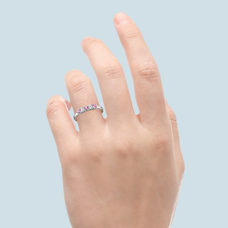Five Stone Pink Sapphire & Diamond Ring In White Gold (1 1/2 ctw) | 06