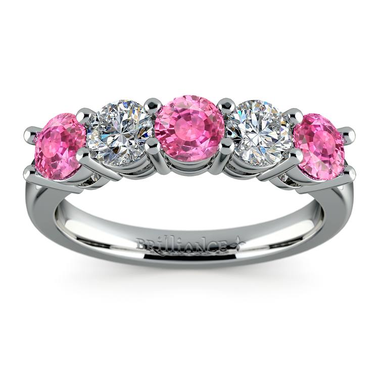 Five Pink Sapphire & Diamond Wedding Ring in White Gold (1 1/2 ctw) | 02