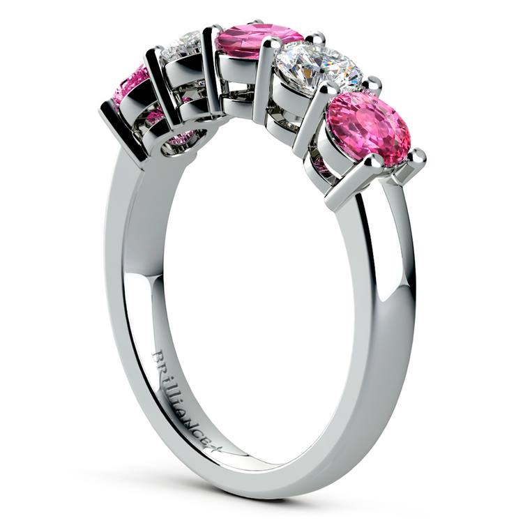 Five Pink Sapphire & Diamond Wedding Ring in White Gold (1 1/2 ctw) | 04