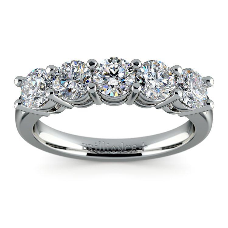 Five Diamond Wedding Ring in Platinum (2 ctw) | 02