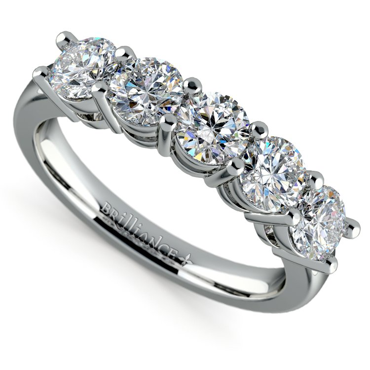 Five Diamond Wedding Ring in White Gold (2 ctw) | 01