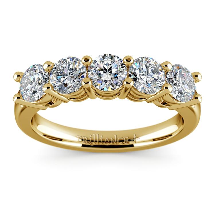 Five Diamond Wedding Ring in Yellow Gold (2 ctw) | 02