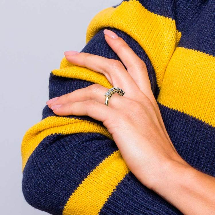Five Diamond Wedding Ring in Yellow Gold (2 ctw) | 06