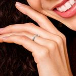 Flat Promise Ring with Baguette Diamond in White Gold (2.5mm) | Thumbnail 07