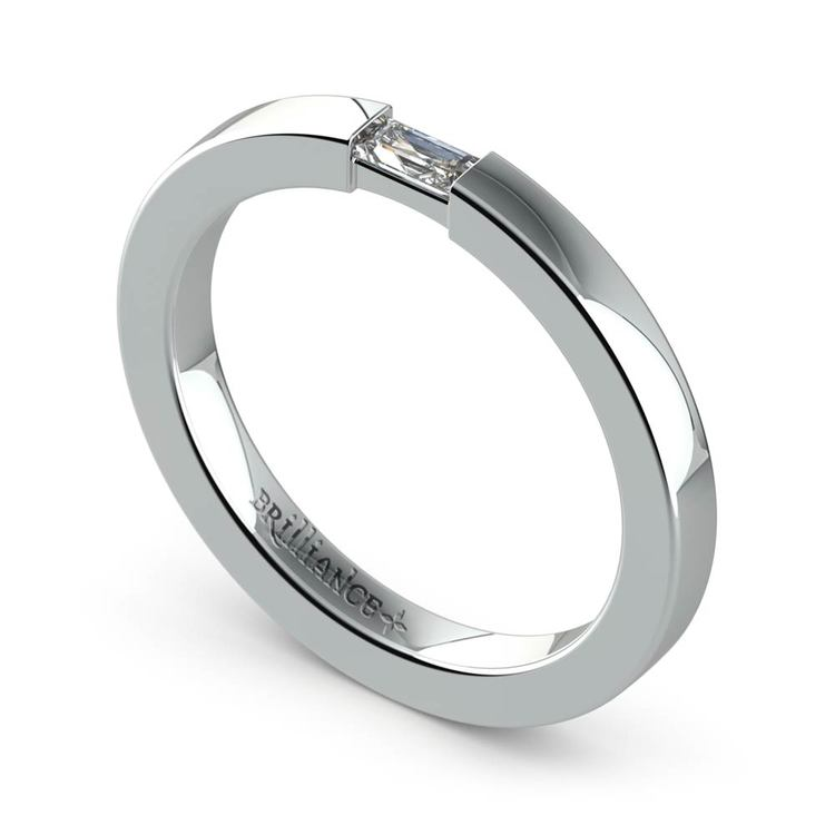 Flat Promise Ring with Baguette Diamond in White Gold (2.5mm) | 01