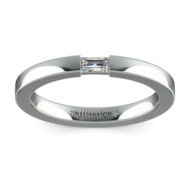 Flat Promise Ring with Baguette Diamond in White Gold (2.5mm) | 02