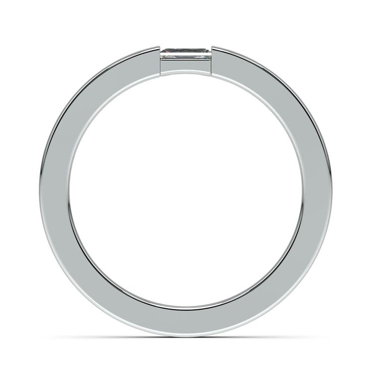 Flat Promise Ring with Baguette Diamond in White Gold (2.5mm) | 03