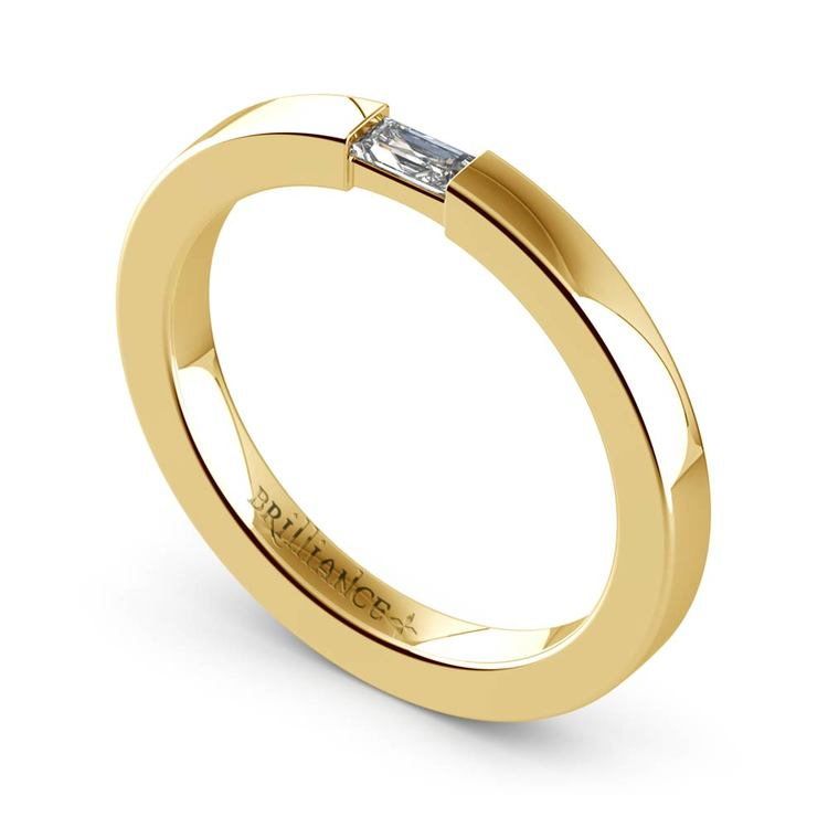 Flat Promise Ring with Baguette Diamond in Yellow Gold (2.5mm) | 01